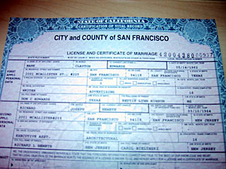 and a hetero sexual marriage license also issued in san fransisco though at a different date